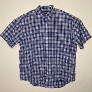 Ralph Lauren Mens XL Blue White Plaid SS Button Up